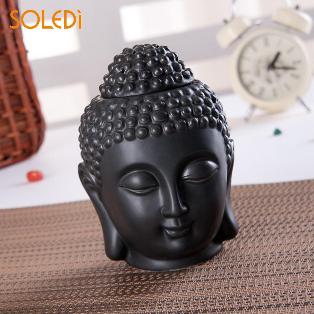 Practical Incense Burner Oil Burner Aroma Burner Durable Ceramics White/Black Buddha Head Home Scented Buddhist Temple