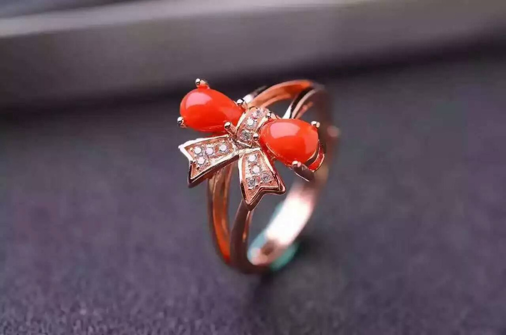 Natural red coral gem Ring Natural gemstone ring S925 sterling silver trendy Elegant cute bow women wedding girl gift Jewelry