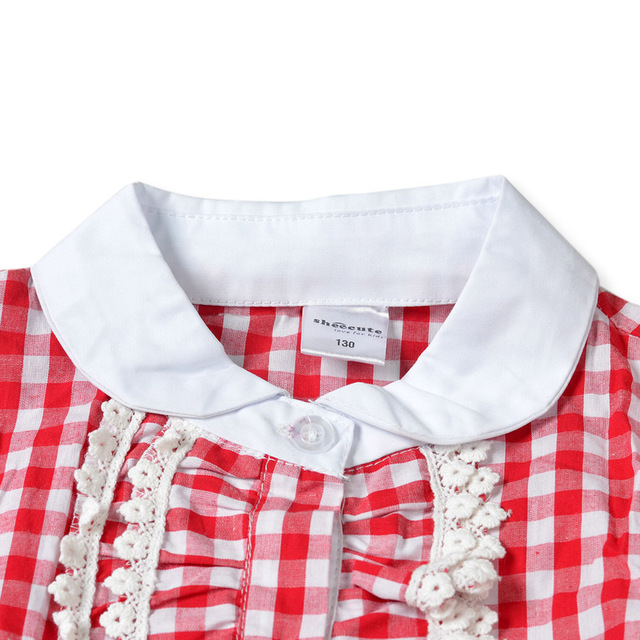 New 5-13 Years Girls Cotton Shirts Spring & Autumn Children 2color Long Sleeve Blouse Brand Kids Brief Tops