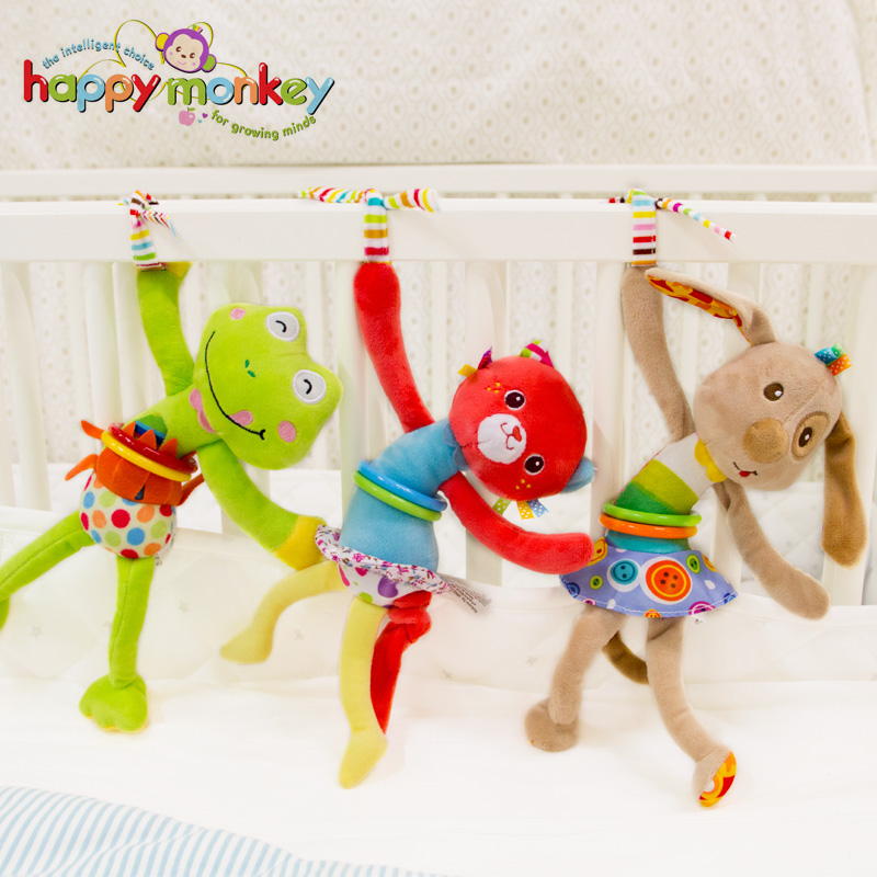 Happy Monkey Vibrate Plush Stuffed Animal Soft Bed Stroller Crib Hanging Activity Educational Baby Fun Rattle Toys For Children