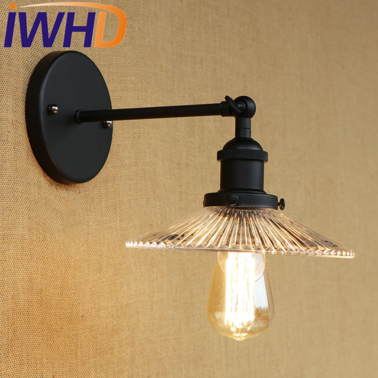 купить IWHD Retro Loft Style Edison Wall Sconce Iron Glass Vintage Wall Light Fixtures Industrial Wall Lamp Home Lighting Lamparas онлайн