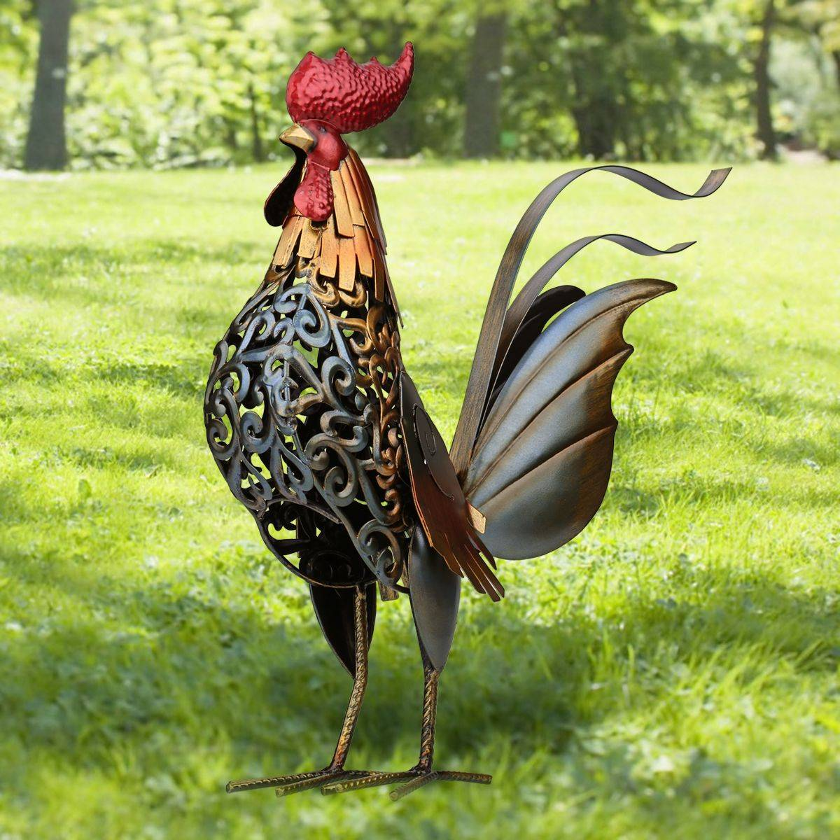 Metal Figurine Rooster Sculpture Carved Iron Rooster Home Furnishing Articles Artwork Home Decoration