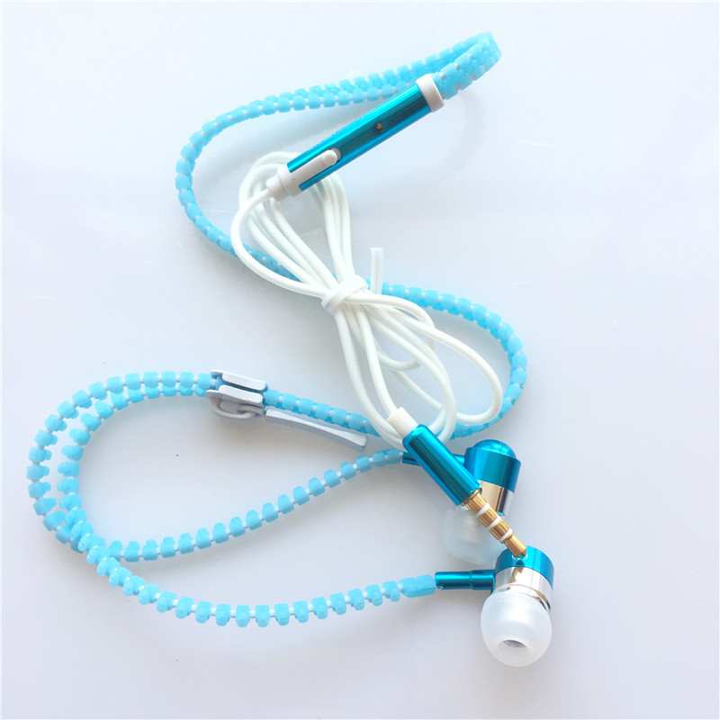 HEONYIRRY Glowing Earphone Luminous Light Metal Zipper Earbuds Glow In The Dark For Iphone for Samsung for Xiaomi MP3 With Mic