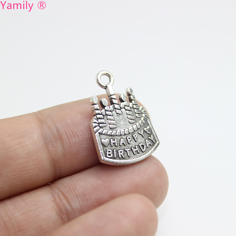 25pcs-- happy birthday cake Charms 22x15mm Antique silver tone Birthday Cake Charms Pendants pj2724