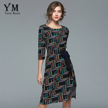 f4552ddfc9d YuooMuoo Sexy Split O Neck Plaid Office Dress Women Slim Fitted Work Dress  Vintage Printed Multicolor