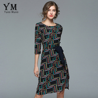 YuooMuoo Sexy Split O Neck Plaid Office Dress Women Slim Fitted Work Dress Vintage Printed Multicolor Party Dress vestidos