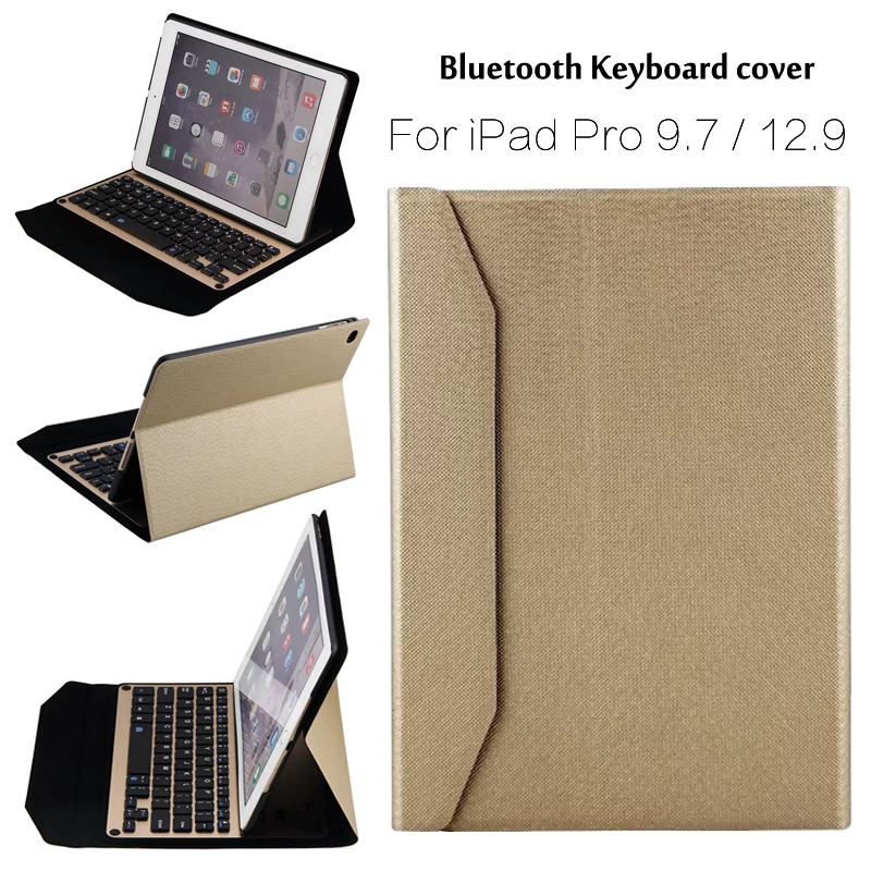 ФОТО For iPad Pro 9.7 High-Quality Ultra thin Wireless Bluetooth Aluminum Keyboard Case cover For iPad Pro 12.9 + Gift