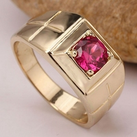 Men Jewelry Gold Color Solid 925 Silver Ring 6mm Round Cubic Zirconia CZ 3 color Available Multi Size10 11 13 R508G
