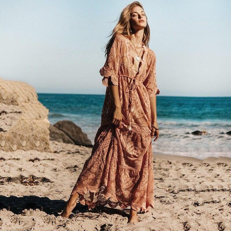 2019 été col en V rose Sexy dentelle Boho plage Maxi robes femmes taille élastique grande taille pure Vintage plage longue robe