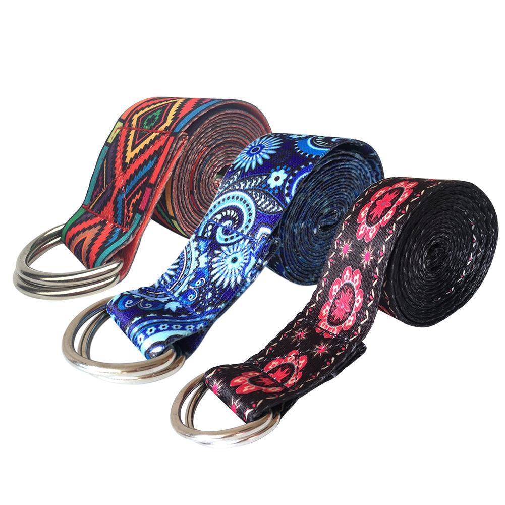 Soleggiato Modello Di Colore Elastico Della Fascia Di Yoga Cotone Resistente Esercizio Cinghia Regolabile D-ring Fibbia Dà La Flessibilità Per Lo Yoga