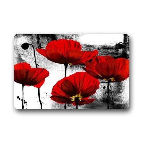 Fantastic Doormat Beautiful Red Poppy Flower Art Door Mat Rug Indoor/Outdoor/Front Door/Bathroom Bedroom Doormat