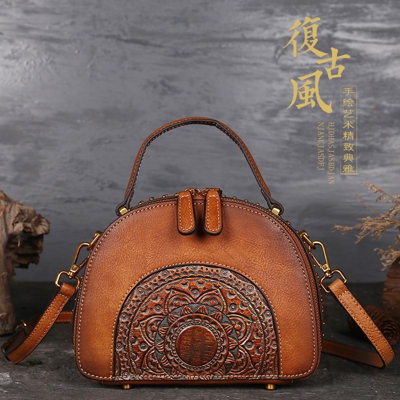 82a3589b3827 2018 Luxury Women Genuine Leather Handbags Ladies Retro Elegant Shoulder  Messenger Bag Cow Leather Handmade Womans