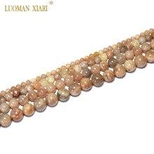 Изысканные AAA натуральный Sunstone круглый камень бусины для самостоятельного изготовления ювелирных изделий браслет Цепочки и ожерелья 4/6/8/10 мм нить 15''