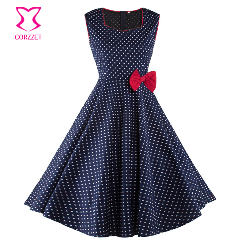 US $16.4 40% OFF|Fashion Blue/White Polka Dot Print With Red Bow Sleeveless  Tank Ball Gown Dress Women Elegant Plus Size Party Club Dresses 2016-in ...
