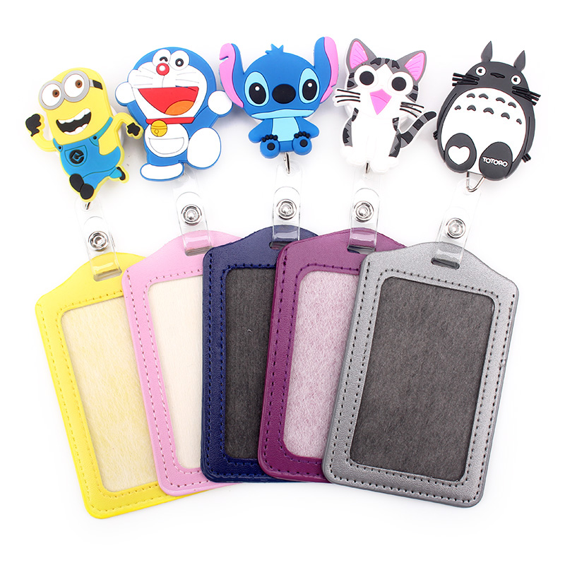 2019 New Products Recommend Cartoon Retractable Badge Reel With Vertical PU ID Business Card Work Card Badge Holder 1pcs/lot