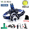 For Hunting Led Headlight Headlamp CREE XML T6 XM-L L2 Led Head lamp Zoom Waterproof 18650 Rechargeable Battery Led Head Light