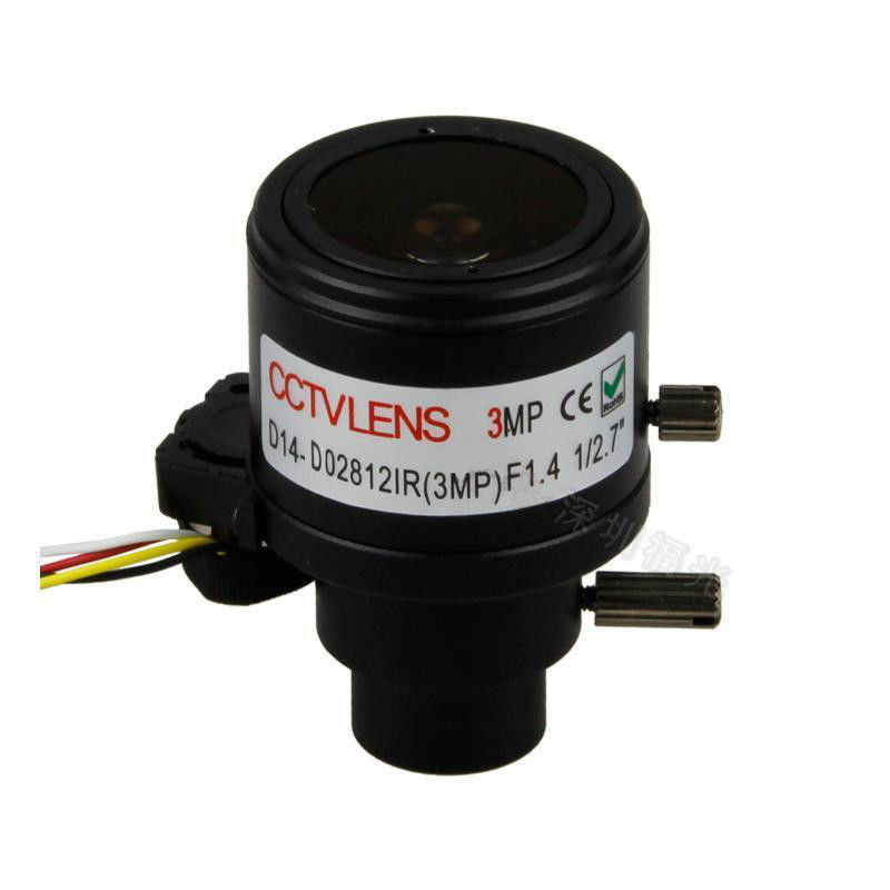 "Auto Iris ICR 3.0Megapixel 2.8-12mm Varifocal CCTV Lens For HD Security Cameras, Manual Zoom & Focus, 1/2.7 inch"", F1.4, D14 Mount"""