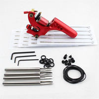 2017 Pro Complete Tattoo Machine Kit Set 1Pcs Aluminum Alloy Red Rotary Tattoo Machine Gun With