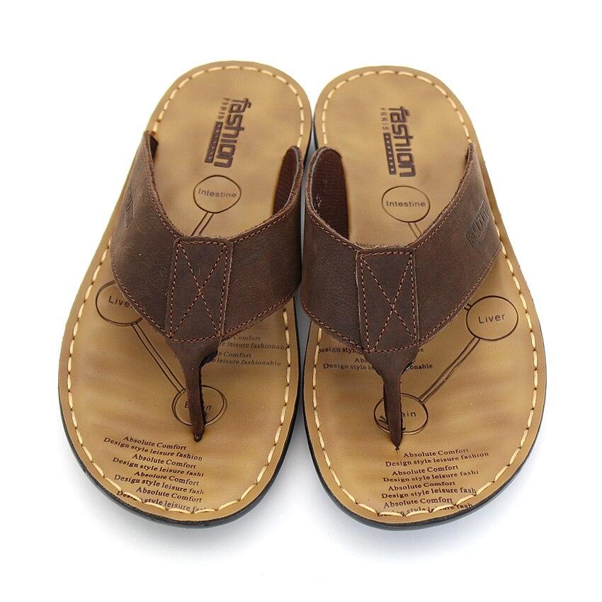 BIMUDUIYU Männer Flip Flops Casual Männer Schuhe Aus Echtem Leder - Herrenschuhe - Foto 3