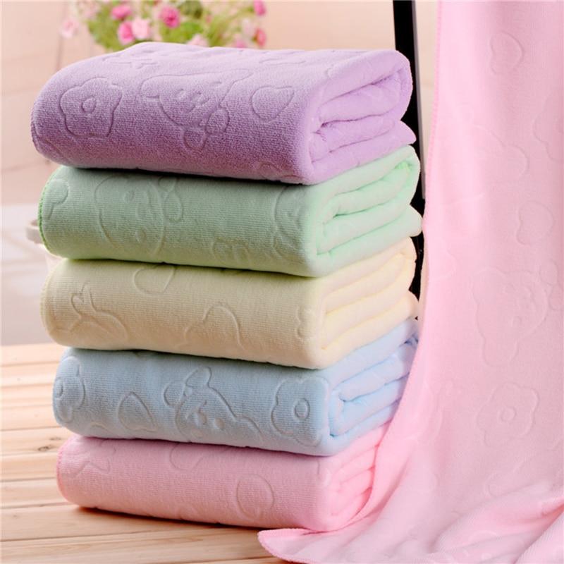 Urijk 1PC Wholesale 70 140cm Beach Towel Bear Print Solid Bath Microfiber Fabric Rectangle Bathroom Kitchen