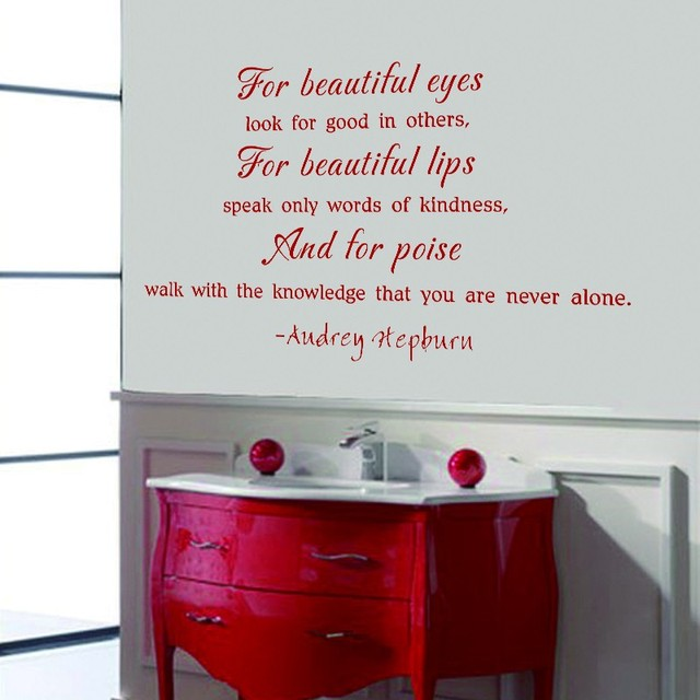 For Beautiful Eyes Audrey Hepburn Quote Wall Decal Fahion Vinyl Art
