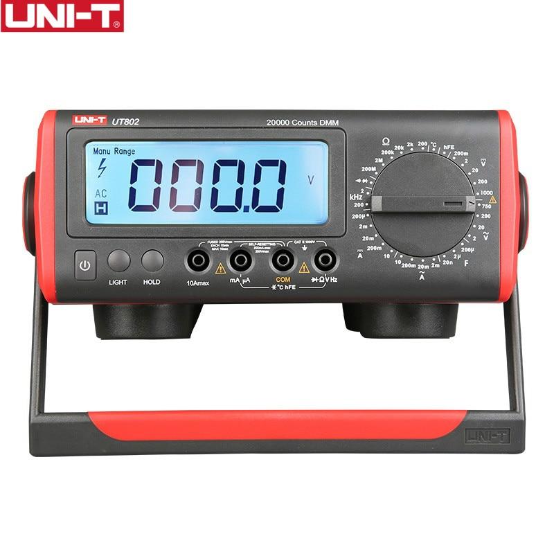 UNI-T UT802 LCD Display Bench Type Digital Multimeters Volt Amp Ohm Capacitance Hz 19999 Counts Tester High-Accuracy uni t ut804 lcd display bench type digital multimeters volt amp ohm capacitance hz 39999 counts tester high accuracy