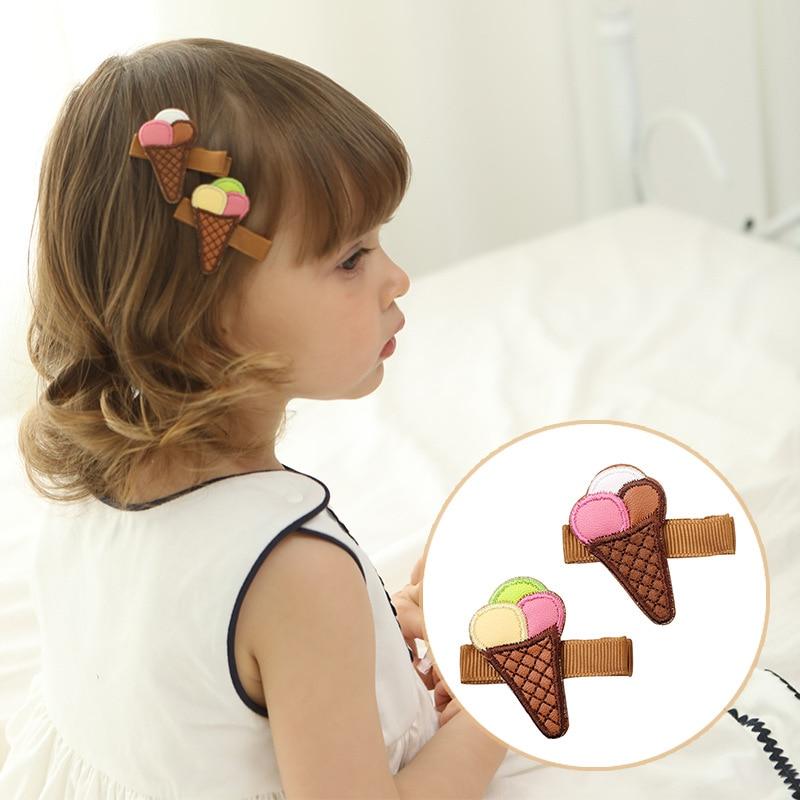 10pcs / lot bordado helado parches de pelo de cuero horquillas para - Ropa de bebé