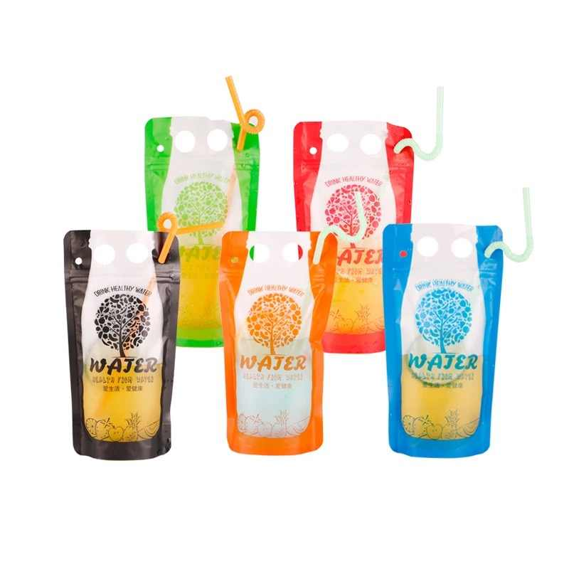 50pcs 250-500ml Handle Plastic Beverage Bag Hot/Cold Juice Milk Coffee Drinking Bag Party Wedding Beverage Pouches