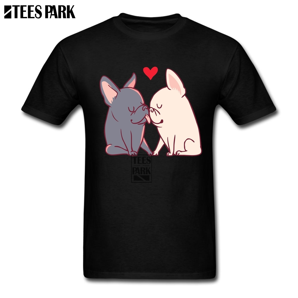 French Bulldog Love Stylish T Shirts Male Pre-Cotton Short Sleeve T Shirts Men Teenage Lightest 2018 Summer Top Fashion Men