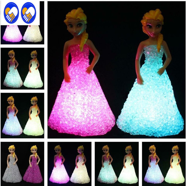 A Toy A Dream Baby Doll Toys For Girls Anna Elsa Toys Doll Ice Snow Queen 7 LED Color Changing Night Light Lamp Girls Gift