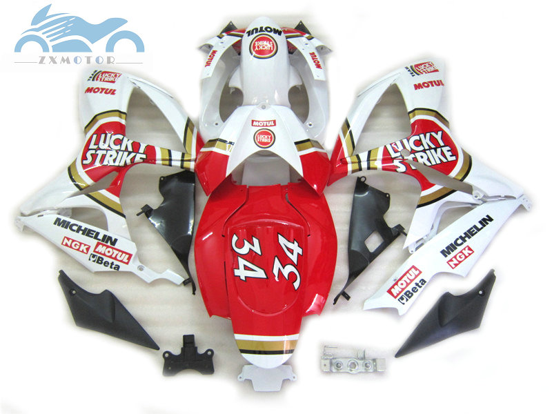 Injection <font><b>Fairing</b></font> kits for Suzuki <font><b>GSXR</b></font> <font><b>600</b></font> K6 GSXR600 750 <font><b>2006</b></font> 2007 ABS motorcycle <font><b>fairings</b></font> kit <font><b>GSXR</b></font> 750 06 07 red Lucky Strike image