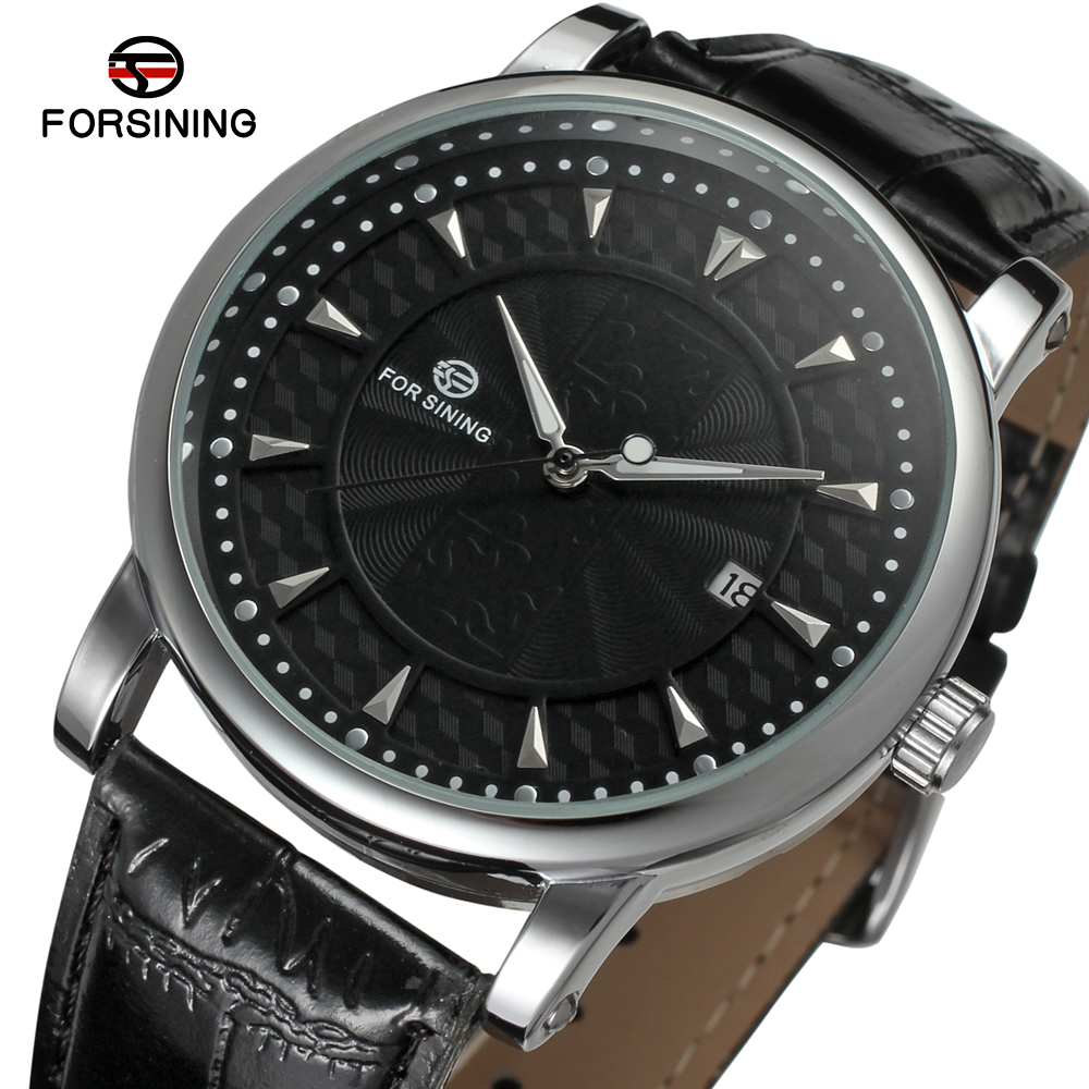 FORSINING The Men's Watches Fashion Luminous Calendar Top Genuine Leather Strap Automatic Mechanical Male Clock mannen horloge Mechanical Watches     - title=