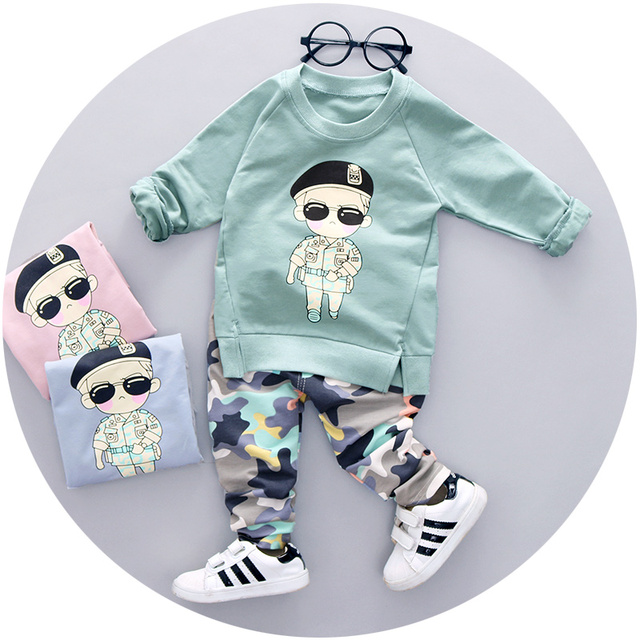 2016 New Autumn boys clothing set for 123 years old  fashion high quality baby clothes full sleeve with character print A061