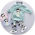 2016 Nuevo Otoño de los muchachos ropa fijada para 123 años de edad de moda de alta calidad ropa de bebé de la manga completa con carácter de impresión A061