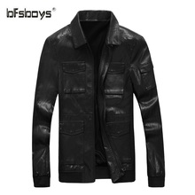 BFSBOYS Men's Leather Jackets Spring and Autumn Black Leather Jacket Men Faux Leather Coats Slim Fit Size PU Jackets Overcoats