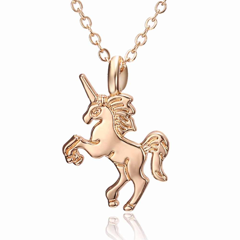 Hot HORSE Necklace For Girls Children Kids Enamel Cartoon Horse jewelry accessories Women Animal Necklace Pendant Unicorn Party