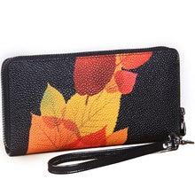 2017Vintage Print Floral Women Wallets Multifunction High Capacity Genuine Leather Wallet Phone Clutch Purse Zip Long Wristlet
