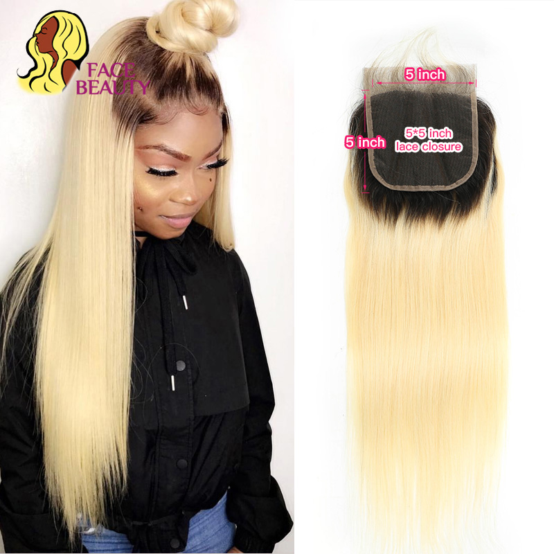Facebeauty 5x5 Straihgt lace closure 1B 613 Blonde Ombre Brazilian Lace Closure Remy Human Hair Weave