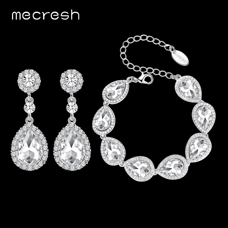 Mecresh Crystal Bridal Jewelry Sets Silver Color Teardrop Wedding Bracelet Earrings Sets Fashion Party Jewelry SL051+EH070 mecresh attractive geometric bridal bracelets for women silver color crystal link party ladies pulseras wedding jewelry msl339