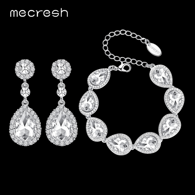 Mecresh Crystal Bridal Jewelry Sets Silver Color Teardrop Wedding Bracelet Earrings Fashion Party Sl051