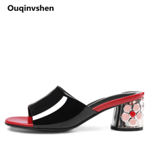 Ouqinvshen Flower Black Women Shoes High Heel Big Size 34-43 Strange Style Craft Party Fashion Slippers Peep Toe Summer Shoes