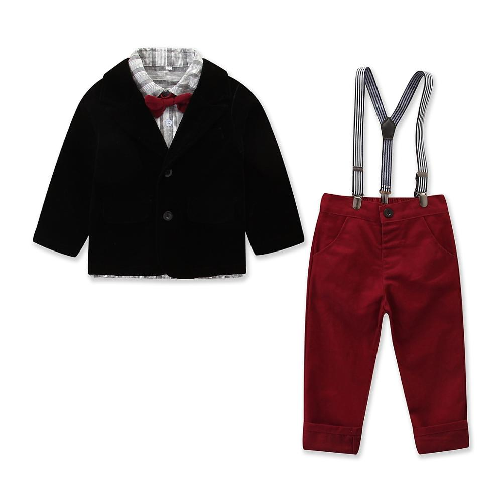 Autumn New Fashion Formal Boys Clothing Sets Coat+Shirt+Pants+Bow Tie Suits 2 3 4 5 6 7 Years Boy Gentleman Leisure Suit