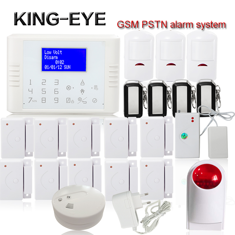 Polish/Spanish/Russian 433 mhz quad band gsm pstn alarm system for home security call sms wireless strobe siren smoke detector wireless smoke fire detector for wireless for touch keypad panel wifi gsm home security burglar voice alarm system