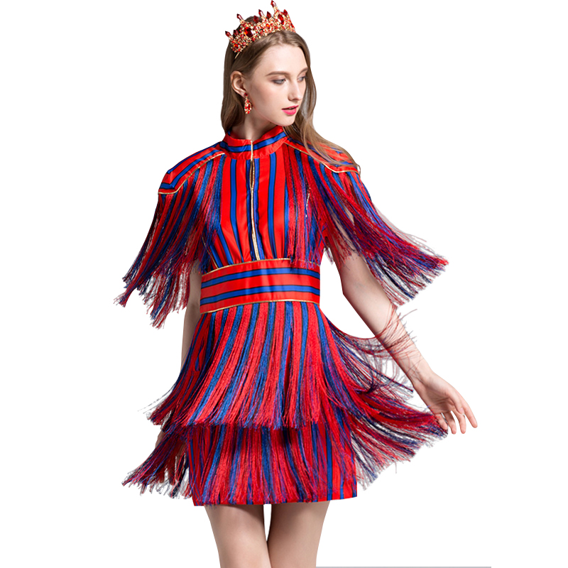 High Quality 2018 Summer And Autumn New Fashion Hit Color Stripes Color Tassel Golden Lace Hollow Chest Back Dress Free Shipping