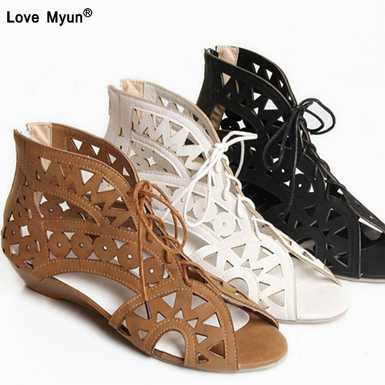 222eab992a2 Hollow Out Women Gladiator Sandals Vintage Lace Up Low Heel Wedges Summer  Shoes For Woman Open Toe Zipper Zapatos Mujer-in Low Heels from Shoes on ...
