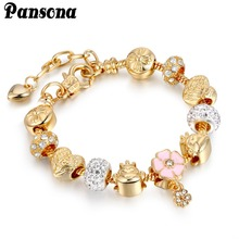 Alibaba-express Heart Wing Animal Bead Bracelets & Bangles Gold Chain Bracelets For Women DIY Pulseira Feminina Jewelry AA142