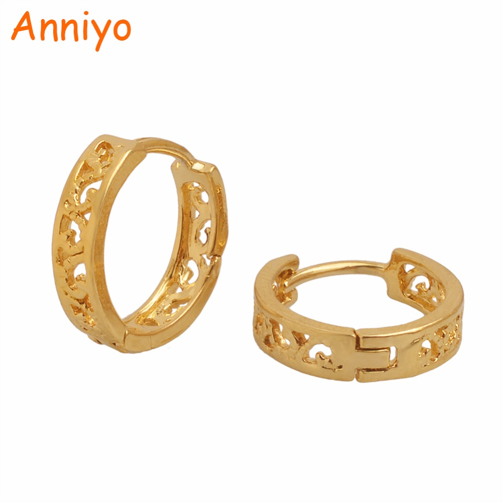 Anniyo SMALL SIZE Metal Earrings for Girls Baby Gold Color Jewellery Cheap Stud Earring Little Girl Gifts #005416