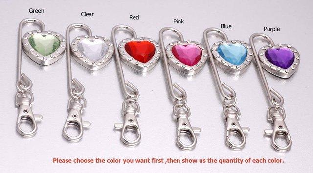 DHL/EMS Free shipping Charm Heart Crystal Steel Purse Hook/Bag hanger Key Finder 40pcs/lot
