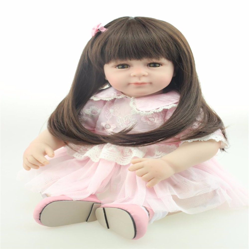 цены  20inch 52cm Silicone baby reborn dolls, lifelike doll reborn babies toys for girl pink princess gift brinquedos  Children's toys