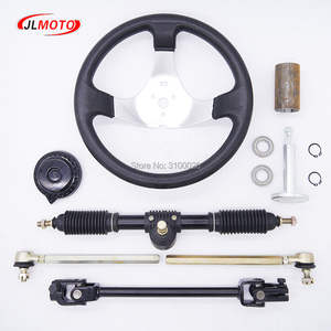 Image 1 - 300mm Steering wheel 420mm Gear Rack Pinion 380mm U Joint Tie Rod Knuckle Assy Fit For China 110cc Go Kart Buggy UTV Bike Parts